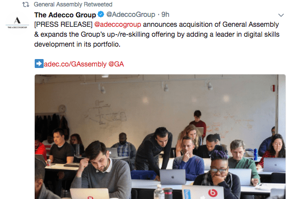 General Assembly to be aquired by The Adecco Group